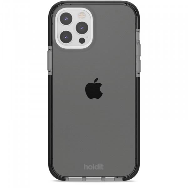 Silicone Seethru Case iPhone 12 / 12 Pro black color-  15047