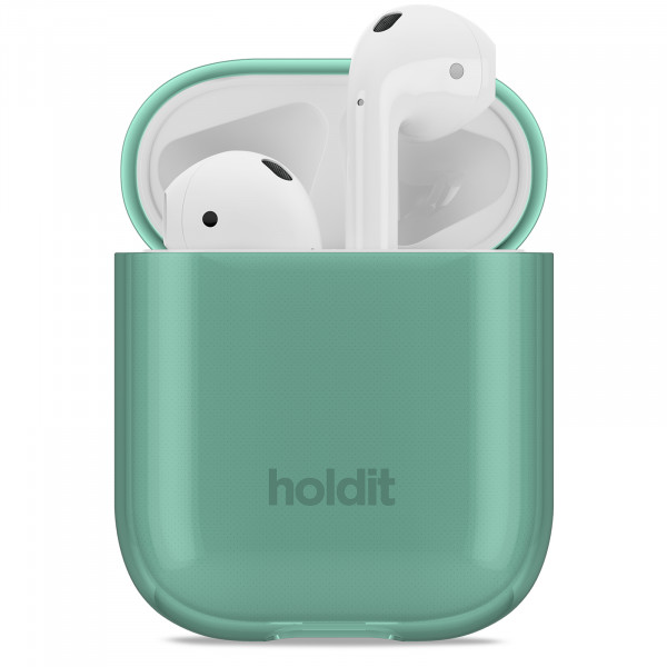 Holdit Silicone Seethru Case AirPods- green-15087